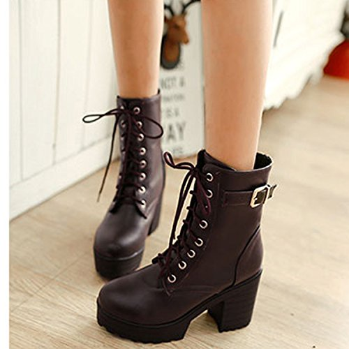 shoes style up boots ankle victorian Ladies heel lace Nonbrand rock Brown block 4OOwBv