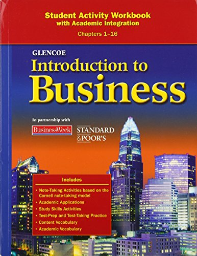 Introduction To Business, Chapters 1-16, Student Activity Workbook (BROWN: INTRO TO BUSINESS)
