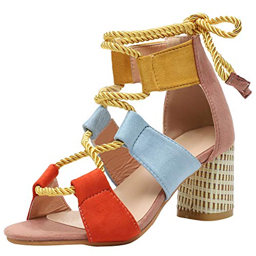 Vimisaoi Women's Fashion Peep Toe Block High Heel Gladiator Sandals, Ankle Strappy Cutout Stripe Dress Party Shoes Pink ()