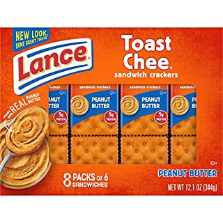 Lance Sandwich Crackers, ToastChee Peanut Butter, 8 Count Box (Pack of 14)