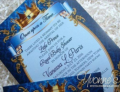 - Royal Baby Prince Baby Shower Invitations - Royal Blue and Gold - For Baby Shower, Boy First Birthday, or Baby Birth Announcement (SET OF 12)