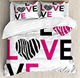 Ambesonne Pink Zebra Queen Size Duvet Cover Set by, I Love You Calligraphy Zebra Stripes Hearts Valentines Illustration, Decorative 3 Piece Bedding Set with 2 Pillow Shams, Pink Black and White