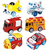 Joyin Toy 6 Pieces Friction Powered Die-Cast City Traffic Vehicles Toddler Car Toy