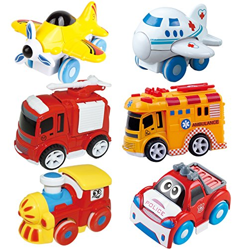Joyin Toy 6 Pieces Friction Powered Die-Cast City Traffic Vehicles Toddler Car ()