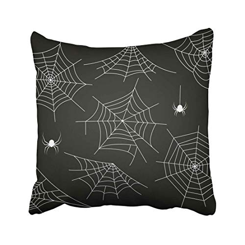 Emvency White Halloween Monochrome Spider and Black Hector Venom Cobweb Bug Bundle Clip Collection Contour Corner Throw Pillow Covers 20x20 Inch Decorative Cover Pillowcase Cases Case Two Side -