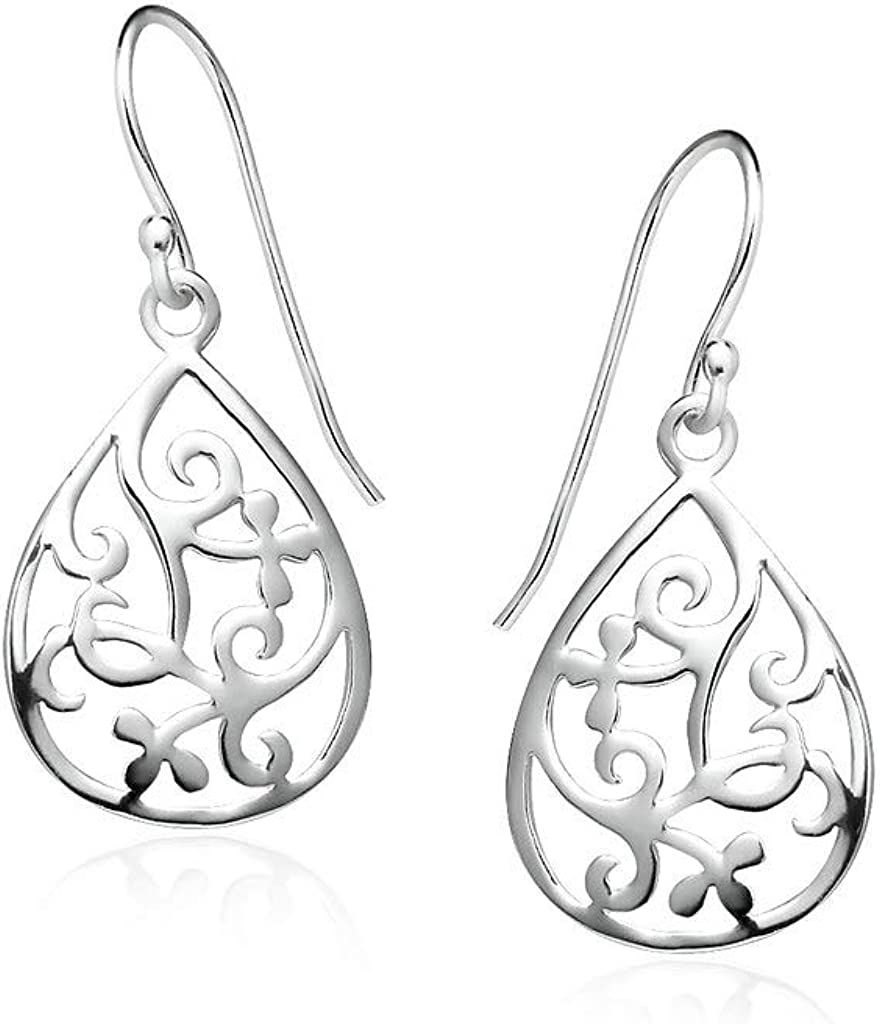 Big Apple Hoops - High Polish Sterling Silver Vine Filigree Teardrop 2 Tone Color Dangle Earrings Made from Solid 925 Sterling Silver in 2 Color Silver or Rose Special Fashion Gifts for Women