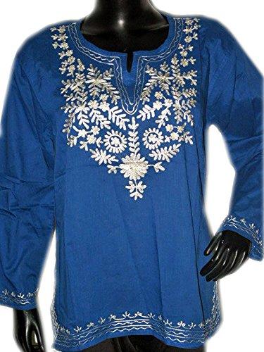 Jayayamala Blaue Baumwollbluse, Hemdkleid , Sommerkleid , beiläufiges Kleid, Partei-Top,