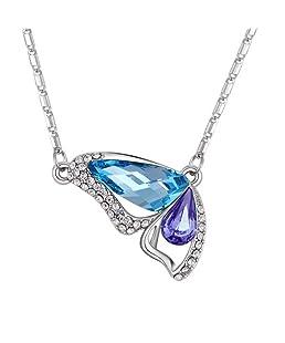 Outflower - Collana con ciondolo a forma di farfalla in cristallo, creativa, alla moda, lunghezza della catena 40cm + 5cm di prolunga, 1 pz. e Fede, colore: C, cod. 122