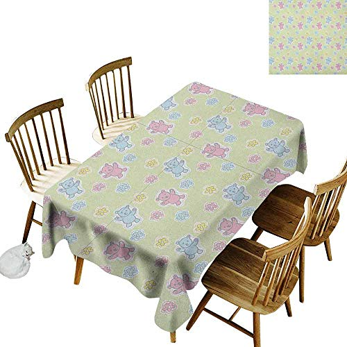 DONEECKL Nursery Wrinkle Free Tablecloth Indoor and Outdoor Tablecloth Baby Toy Drawing Pattern with Soft Colored Teddy Bears and Wildflowers Pale Green Pink Blue W60 xL120 ()