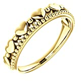 Stackable Beaded Heart Comfort-Fit Ring, 14k Yellow Gold, Size 8