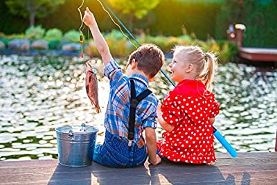 PLUSINNO Kids Fishing Pole,Telescopic Fishing Rod and Reel Combos with Spincast Fishing Reel and String with Fishing Line