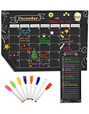 """MoKo Magnetic Dry Erase Calendar for Refrigerator, 16.73""""x12"""" Dry Erase Monthly Schedule Planner and Grocery Shopping List with 8 Markers for Kitchen Fridge and White Board - Black"""