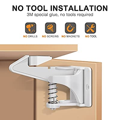 Child Safety Cabinet Locks,Furado Upgraded Baby Proofing Safety Locks,10 Pack,Super Sticky(3M),No Tools or Drill Needed,Drawer Locks for Cabinets,Drawers and Closets (White)