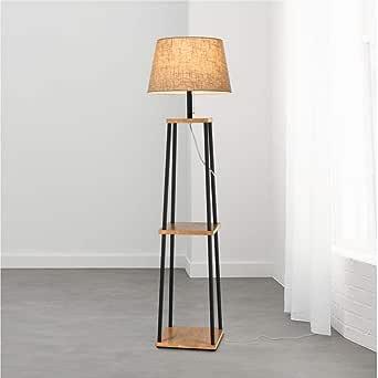 MASOSER Lámpara de pie con estante LED - Lámpara de pie moderna y de diseño simple con pantalla de tela suave - Marco de madera de estilo asiático (Color : Style-D): Amazon.es: