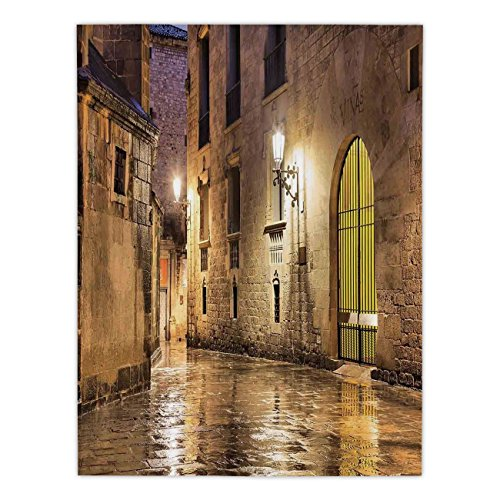 iPrint Satin Rectangular Tablecloth [ Gothic Decor,Gothic Ancient Stone Quarter of Barcelona Spain Renaissance Heritage Gothic Night Street Photo,Cream ] Dining Room Kitchen Table Cloth Cover by iPrint