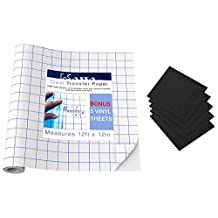 Clear Transfer Paper For Vinyl (12 Feet) - 5 Black Vinyl Sheets Included - With Grid - Perfect Alignment of Cameo or Cricut Self Adhesive Vinyl Transfer Tape for Decals Signs Walls & Windows