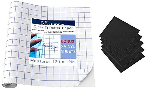 """Transfer Paper Tape Roll (12 ft x 12"""") + Bonus 5 Vinyl Sh..."""