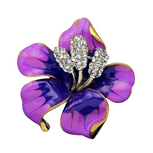 JewelryHouse Fancy Vintage Rose Flower Colourful Women Brooch Pin (Purple) ()
