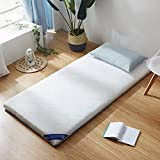 SANDM Moisture Proof Futon Mattress,Ultra Soft Mattress Pad Lightweight Folding Mattress Whith Anchor Bands Portable Fiber Mattress Topper-White 120x200cm(47x79inch)