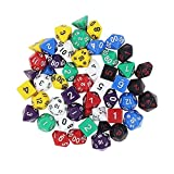 Paxcoo 7 x 7 (49 Pieces) Polyhedral Dice with Pouches for Dungeons and Dragons DND RPG MTG D20 D12 D10 D8 D6 D4 Table Games