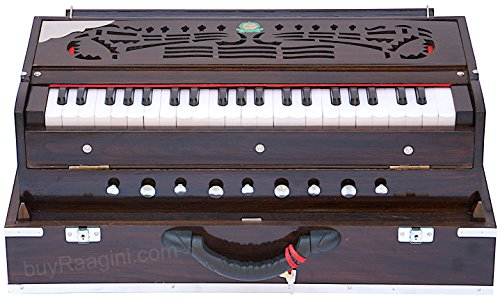 Harmonium Instrument, Monoj K Sardar MKS, In USA, Concert Quality, Folding, Double Reed, Dark Mahogany Color, 9 Stop, 3 1/2 Octaves, Padded Bag, Book, Indian Musical Instrument (PDI-BDC) by MKS