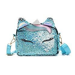 Girls Cute Unicorn Glitter Sequins Crossbody Purses
