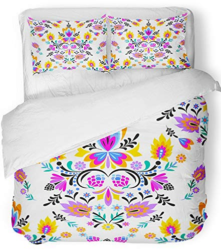 Emvency 3 Piece Duvet Cover Set Breathable Brushed Microfiber Fabric Colorful Folk Mexican Polish Wzory Style with Flowers and Swirls Cut Out Bedding Set with 2 Pillow Covers Full/Queen Size by Emvency