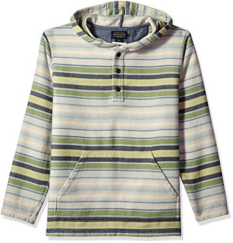 Pendleton Men's Serape Long Sleeve Hoody Popover, Green Stripe, LG ()