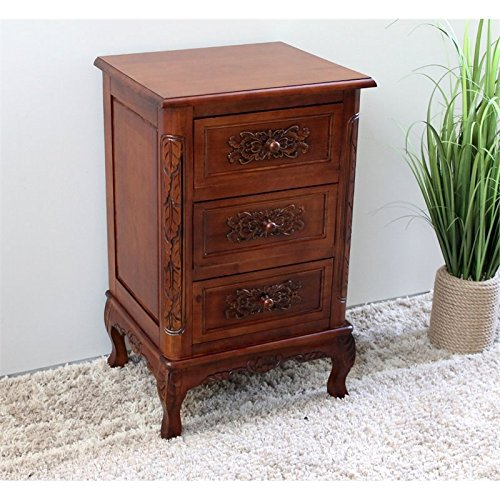 Hand Carved End Table (Hand Carved Wood 3-Drawer End)