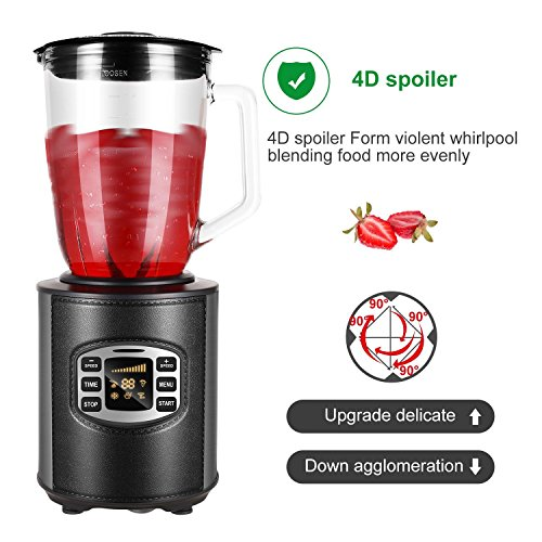 Utheing Smoothie Blender, 800W 5 Modes 50oz Stainless Steel, Fruit Mixer with Smart Timer Setting for Shakes and Smoothies Silver by Utheing (Image #7)
