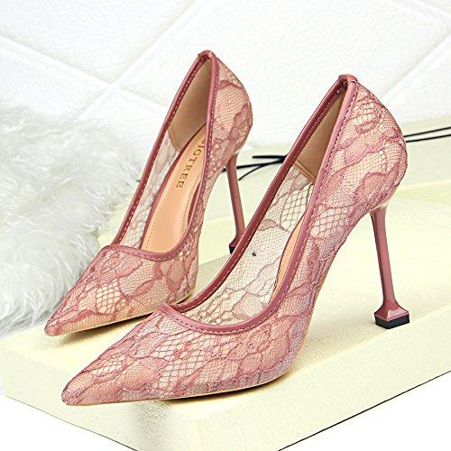 Nocturno Zapatos Muelle Ahuecó Puntiagudos Club High Tacón Altos Tacones Gules Heeled Superficial Encajes Zapatos Viento El ZHANGYUSEN de wqA6YY