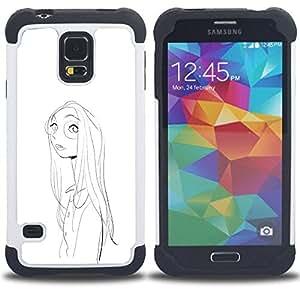 BullDog Case - FOR/Samsung Galaxy S5 I9600 G9009 G9008V / - / GIRL PORTRAIT GLASSES PENCIL DRAWING FACE /- H??brido Heavy Duty caja del tel??fono protector din??mico - silicona suave