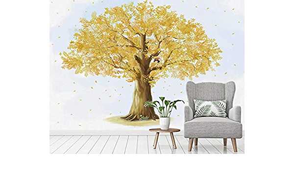 show original title Details about  /3D Golden Tree H2306 Wallpaper Wall art Self Adhesive Removable Sticker Wend