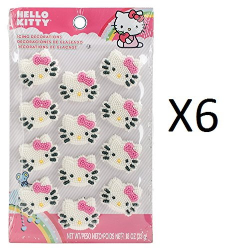 (Wilton Cupcake/Cake Toppers 12pc Hello Kitty Icing Decorations 710-7575 (6-Pack))