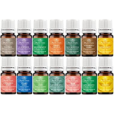 Essential Oil Variety Set Sampler Kit - 14 Pack - 100% Natural Pure Therapeutic Grade Oils 5 ml. Amber Bottles Aromatherapy.