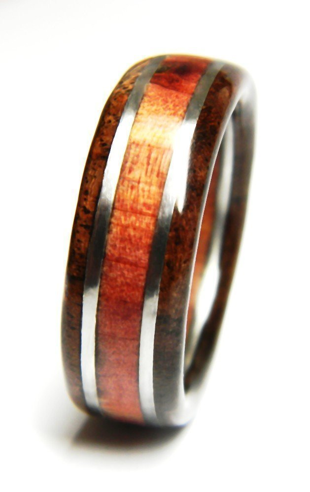 Native   Mens Ring by Saxon Woodworks   Black Walnut paired with Eastern Red Cedar   Mens Jewelry   Mens Wood Ring