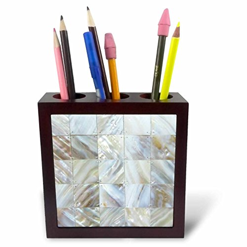 3dRose ph_50911_1 Picturing Mother of Pearl Tile Pen Holder, 5-Inch - Coaster Pearl