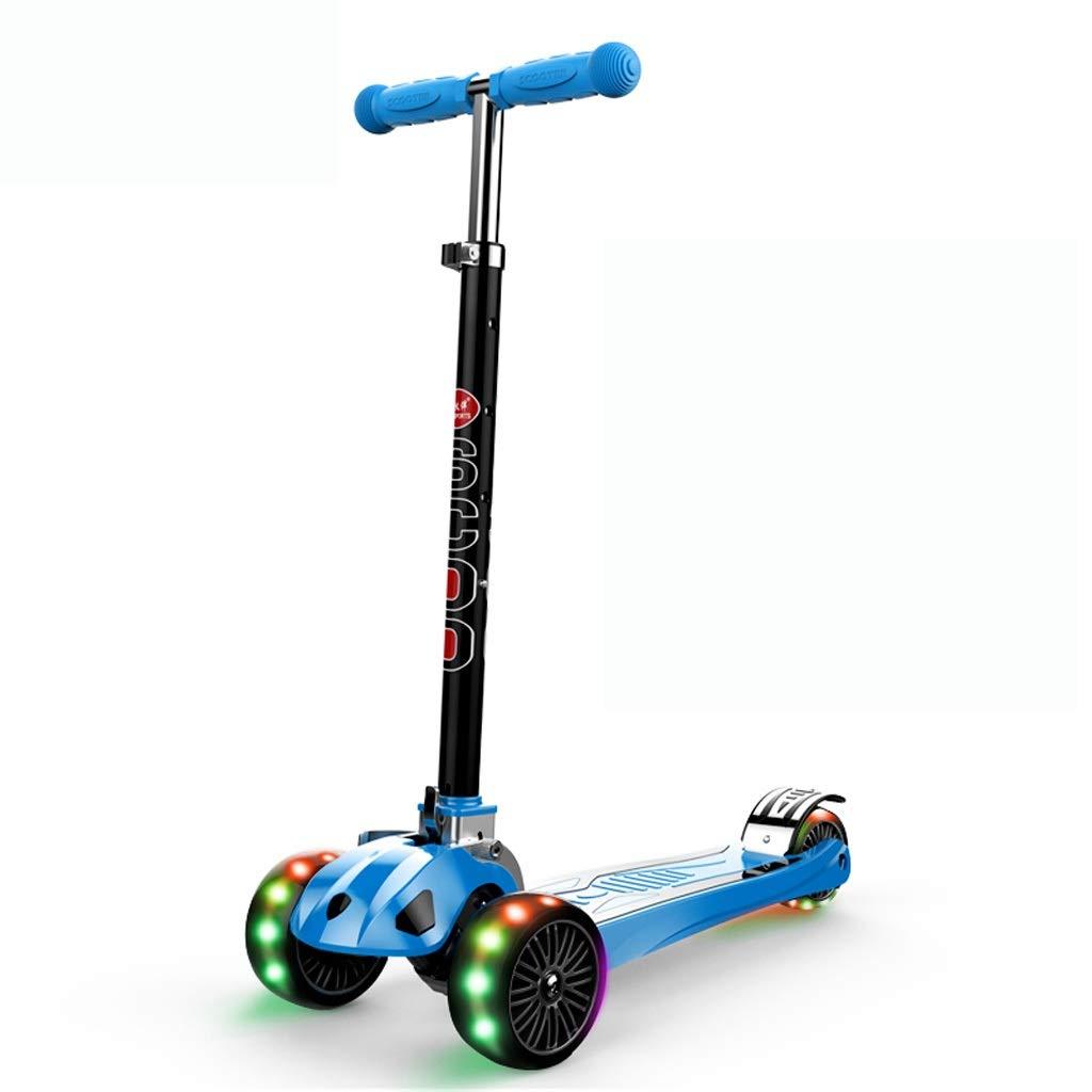 子供キックスクーター、LEDで操縦する3輪調整可能ハンドルバー軽量化ライトアップ男の子と女の子の年齢3-12のための車輪 青 青 B07R9TSCL9 B07R9TSCL9, 立川町:89662776 --- pinerelatorioanual.com