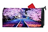 Personalized Magnetic Mailbox Cover - Mailbox Wrap with Decorative Spring Summer Themed Design, Standard Sized, 6.5 x 19 Inches - Spring Night, Lights Sakura