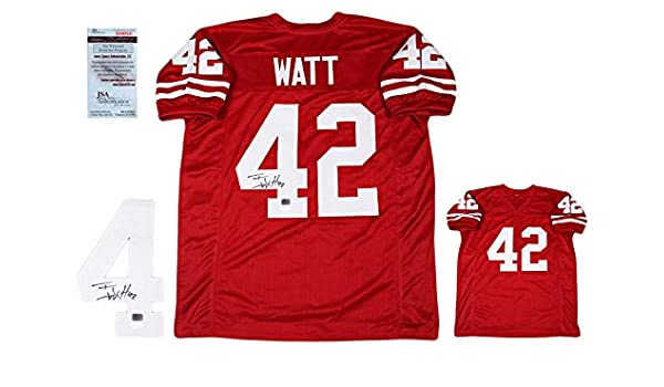 51f73300f01 TJ Watt Autographed SIGNED Custom Jersey - JSA Witnessed Authentic - Red at  Amazon's Sports Collectibles Store