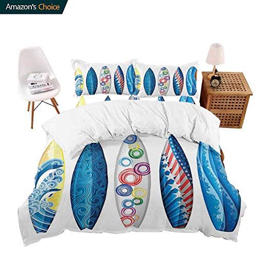PRUNUSHOME 4 Piece Polyester Set Surfboards American Flag Ornamental Curved Line Reef Rock Diving Trip Sunny Day Soft Silky - X-Long Twin