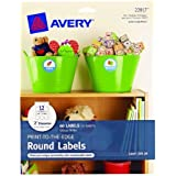 """Avery Print-to-the-Edge Round Labels, Glossy White, 2"""" Diameter, Pack of 60 (22817)"""