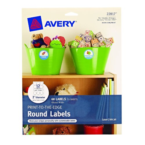Avery Print-to-the-Edge Round Labels, Glossy White, 2