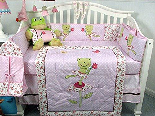 SOHO Pink Froggie Ballet Party Crib Nursery Bedding Set Including Diaper Bag PLUS FREE PINK ANIMAL JUNGLE FRIENDS FLEECE BLANKET