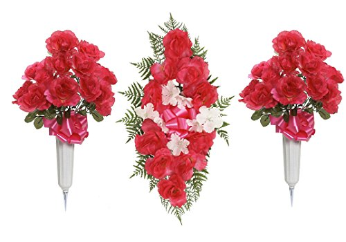 "Teters Memorial CMB0002FHCOM 26"" Rose Headstone Spray and..."