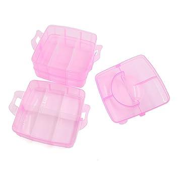 Amazon.com: DealMux plástico rosa pequeno 3 Camadas 18 Slots ajustável Caixa de armazenamento Jóias Brinquedos Container w Handle: Health & Personal Care