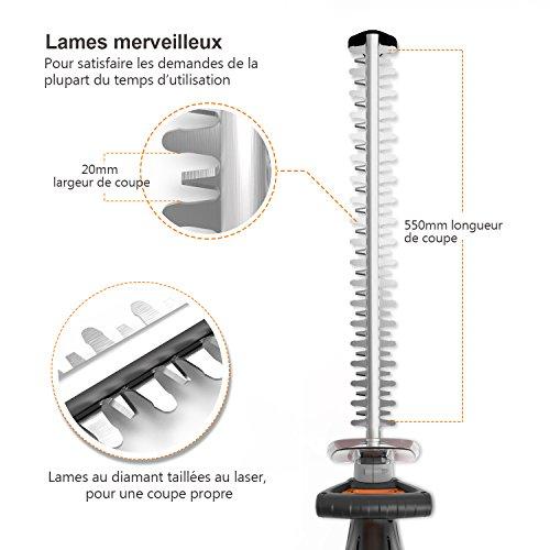 TACKLIFE Taille Haie Électrique, Taille-Haies 600w, Longueur de Lame 550 mm, Ouverture...