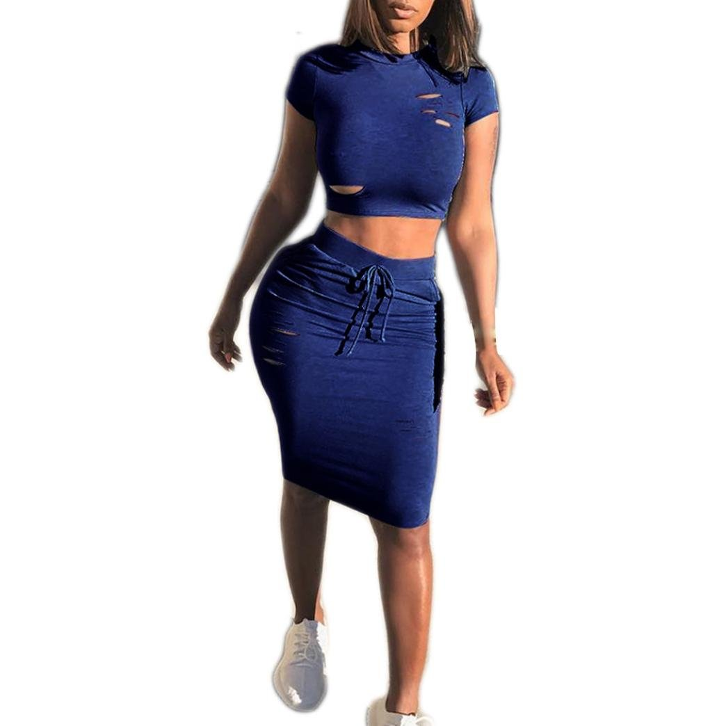 Caopixx Summer Two Pieces, Women O-Neck Hollow Short Sleeve Slim Fit Skirt Casual Party Dresses (Asia Size M, Blue)