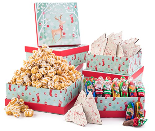 Christmas Santa's Magic Artisan Gourmet 3 Tier Tower Delectable Crafted Gift Basket For Holidays and Gifting Filled with Caramel Drizzle Popcorn Peppermint Bark, and Holiday Foiled Chocolate