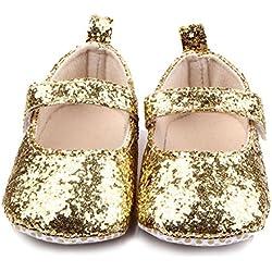 M2cbridge Baby Girl's Bow Dress Shoe Infant Toddler Pre-walker Crib Shoe (12-18 Months, Golden Glitter)